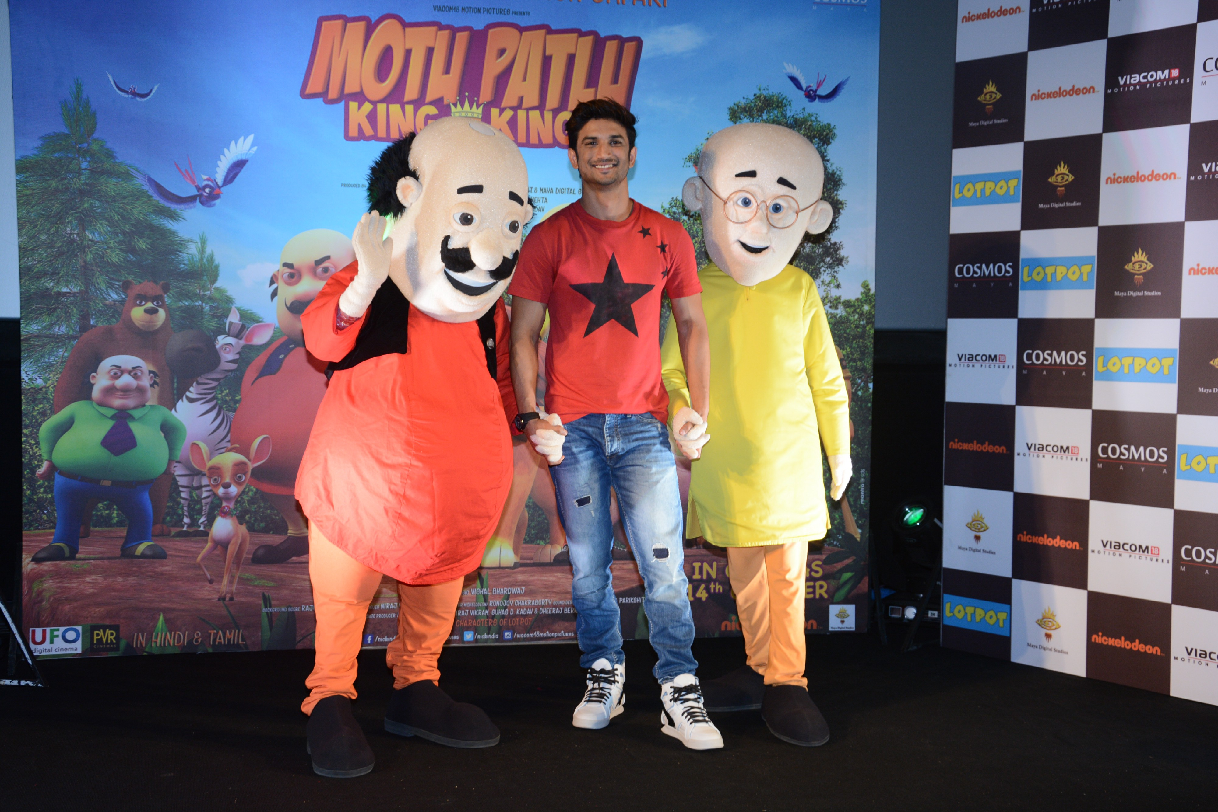 motu-sushant-singh-rajput-patlu-on-the-trailer-launch-of-motu-patlu-king-of-kings