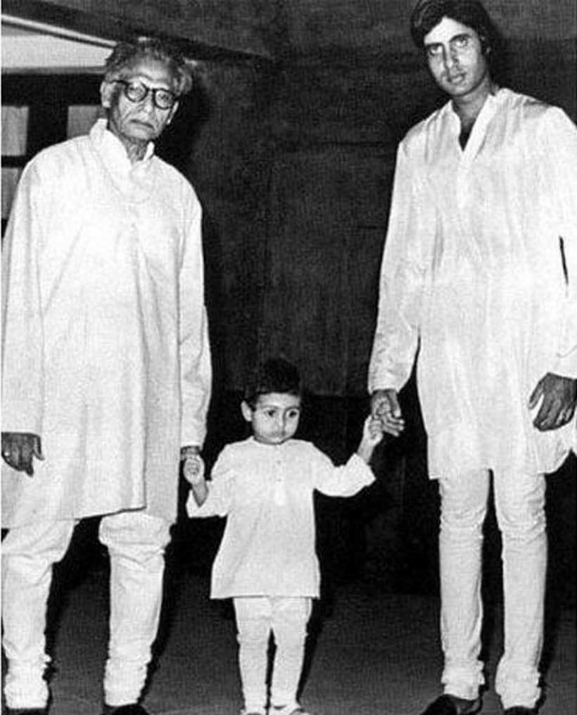 Amitabh Bachchan with his father and son