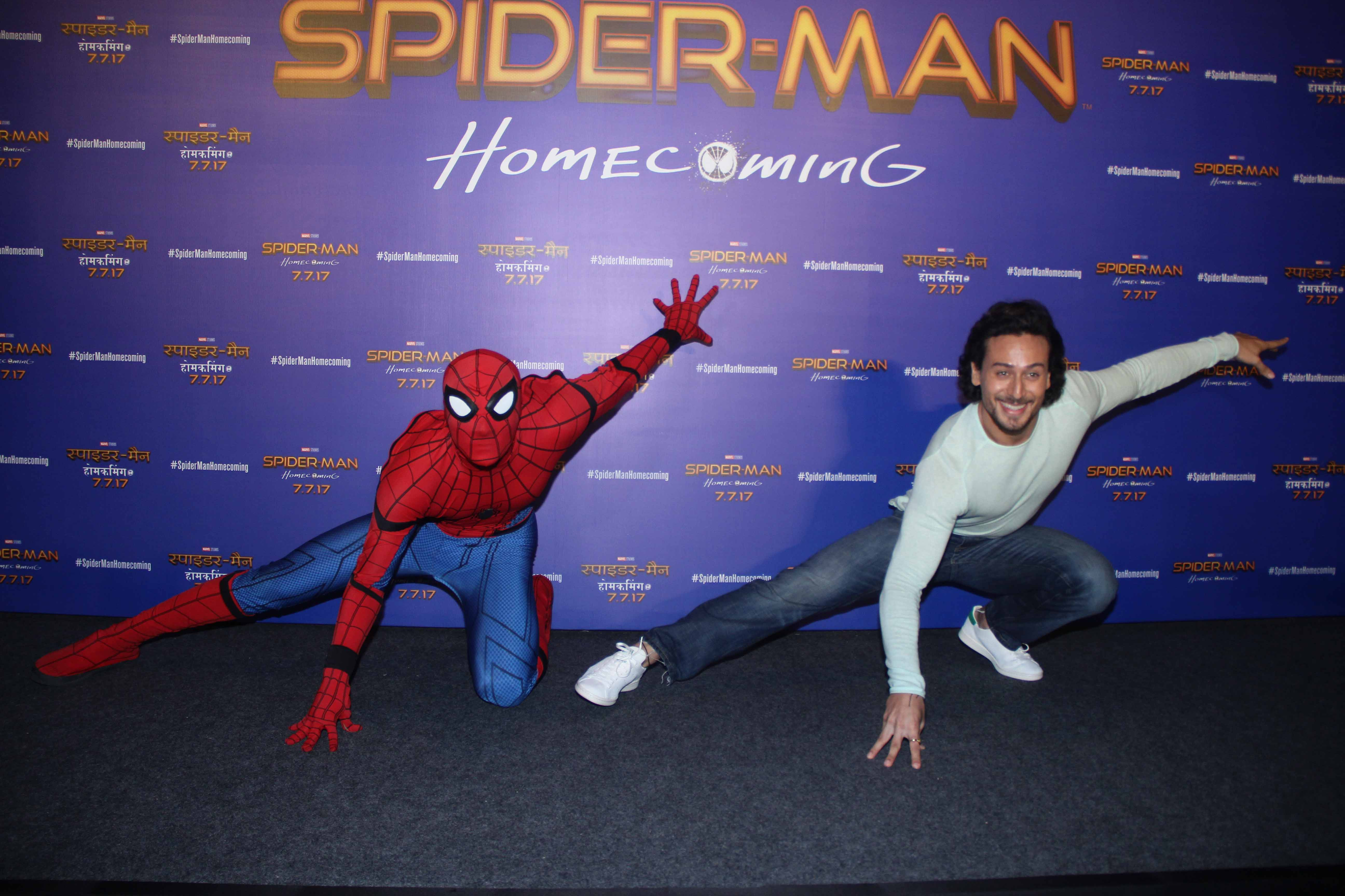 Tiger Shroff striking a pose with Spider-Man (2)